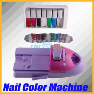 Nail Art Stamping Printer Machine 7 Color Polish Printing Drawing Set