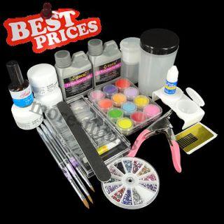 FULL Acrylic Nail Art Professional Set Liquid + Powder Tips Acrylic