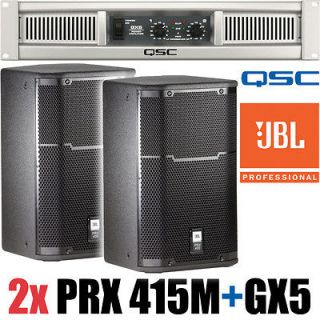 2x JBL PRX415M 15 Full Range Speaker and QSC GX5 Power Amplifier Amp