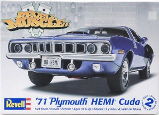 Revell Muscle 71 Plymouth HEMI Cuda 125 Scale Plastic Model Car Kit