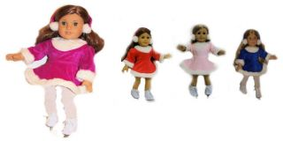 Skating Dress with Muffs fit American Girl Doll 18