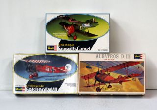 REVELL 3 MODEL KITS WW I AIRPLANES SOPWITH CAMEL FOKKER D VII ALBATROS