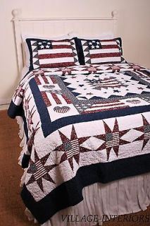 AMERICANA RED WHITE & BLUE GREAT AMERICAN FLAG KING COTTON QUILT SET