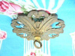 ANTIQUE FRENCH BRASS CEILING HOOK OR ROSE FOR LIGHT/CHANDELIER