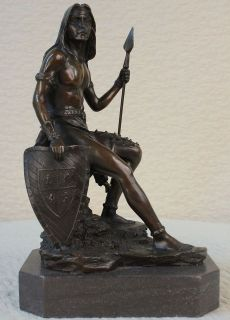 Bronze Marble Sculpture Native American Indian Warrior Figurine Statue