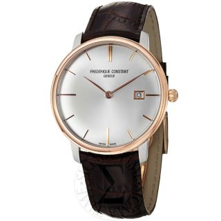 Frederique Constant Mens Slim Line Silver Dial Two Tone Watch FC