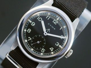 Cyma Military WWW Sub Second Vintage Watch