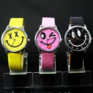 3pcs New Nice Smile Face Girls Boys Kids Wrist Watch,a28 3