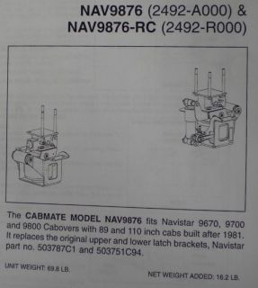INTERNATIONAL CABOVER 9670 9700 9800 CAB AIR RIDE KIT FITTING MOST COE