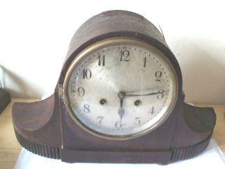 Junghans Wurttemberg German Oak Napoleon Hat Striking Mantle Clock