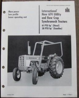 International 674 Utility Row Cr Tractor Sales Brochure