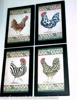 Funky Chicken kitchen wall decor plaques zebras leopards tigers