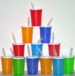 100  SMALL PLASTIC DRINKING GLASSES LIDS STRAWS CUPS