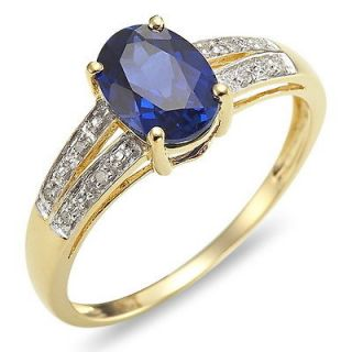 Jewelry Blue Sapphire 10KT Yellow Gold Filled Ring Stamp 10KT Gift