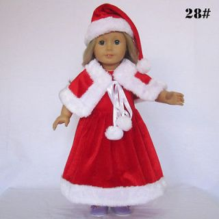 Hat Dress Shawl outfit for American Girl 18 Doll Clothes A028