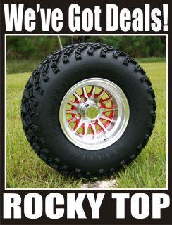 CLUB CAR 6 A ARM LIFT + 10x7 Red Medusa Wheels and A/T Tires Golf