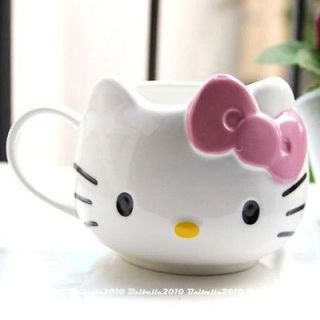 Hello Kitty Ceramic Cup Tea Milk Coffee Mug White Pink Bowknot BZ2