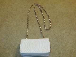 Simone New York   Vintage White Leather Shoulder Evening Bag