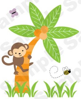 JUNGLE SAFARI MONKEY PALM TREE BEE NURSERY BABY WALL MURAL STICKERS