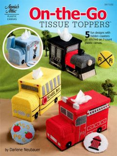 Tissue Toppers Plastic Canvas Coasters Covers Patterns Book Bus Train