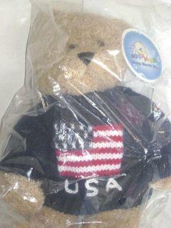 PLUSH TEDDY BEAR USA SWEATER BY NOVA PLUSH NEW IN THE BAG