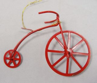 Vintage 2.5 Red Enamel on Metal High Wheel Bicycle Christmas Ornament