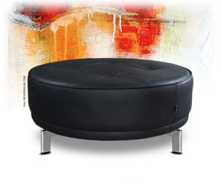 FINE LEATHER COFFEE TABLE OTTOMAN POUFFEE WHITE / BLACK