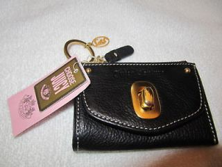 JUICY Black Leather Coin Purse & Mini Wallet w/Key Ring And Charm
