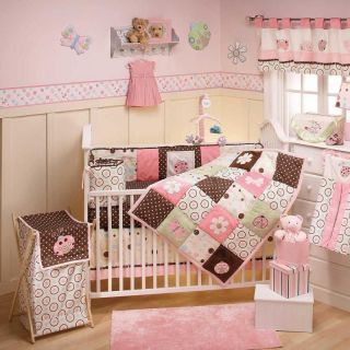 and Green Girl Ladybug Flower Patchwork Baby Crib Bedding Nursery Set