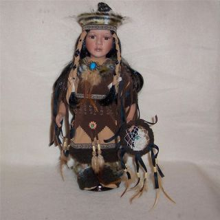 Onida Cathay Porcelain Indian Doll with Dream Catcher