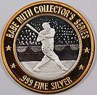 Babe Ruth Collectors Series Silver Medal 714 Home Runs .999 Silver