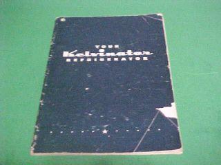 VINTAGE KELVINATOR REFRIGERATOR INSTRUCTION BOOKLET WITH RECIPES