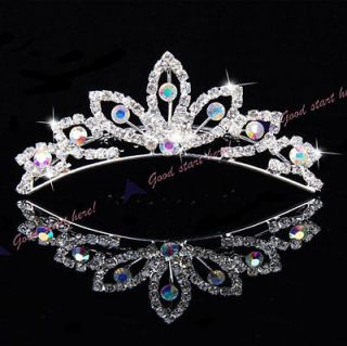 New Color diamond Elegant Pearl Rhinestone inlay Crown Tiara Hair Comb