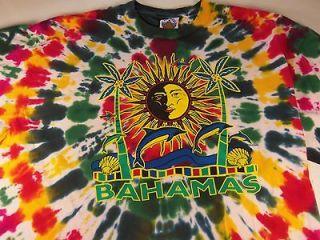 Mens T Shirt bahamas sun palm trees art parrots white size sz xl