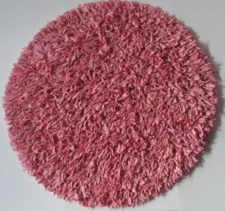 JERSEY COTTON SHAG thick plush Area RUG PINK 3 Round