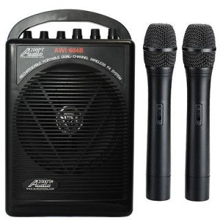 Dual Wireless Microphone Battery Powered Portable PA System 2 Handheld