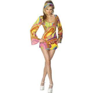 Womens 60s Hippy Flower Power Fancy Dress Costume