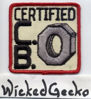 Vintage 1970s Certified CB Nut Embroidered Patch   citizens band radio