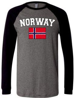 Norway Country Flag Mens Raglan T Shirt Baseball Tee Norwegian World