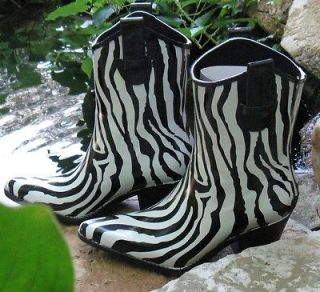 Girls Cowboy Western Rain Boots Zebra Stripe Corkys Footwear Medium