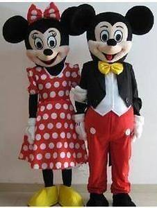 Pair Mickey and Minnie Mouse Mascot Costume new.