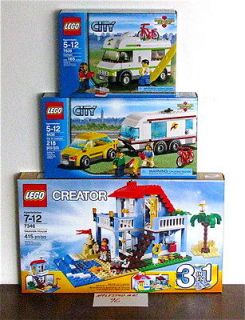 NEW LEGO 4435 7346 7639 CITY CREATOR SEASIDE BEACH HOUSE CAR & CAMPER