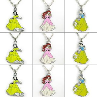 Princess Bell&Snow White&Ariel Necklace Kids Birthday Party Bag Gift