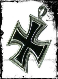 Black Iron Cross Biker Medals Necklace Pendant F141