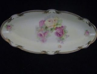 Crown China GERMANY Hand Painted Roses ASPARAGUS DISH