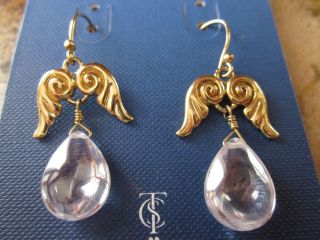 TEMPLE ST CLAIR SPARKLING CRYSTAL CLEAR ANGEL WINGS DROP EARRINGS NWT
