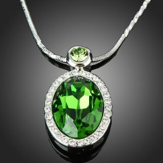 Oval Peridot Pendant Swarovski Crystal Necklace White Gold GP Jewelry
