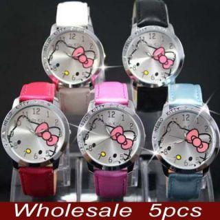 5pcs Hello Kitty Crystal Wrist Watch Clock Lot of Clock gift LK13