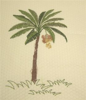 SHOWER CURTAIN CROSCILL PORT OF CALL PALM TREES COCONUT