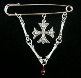 Gothic Kilt Pin Brooch   Bones & Cross Blood Drop Bead   Goth Punk Emo